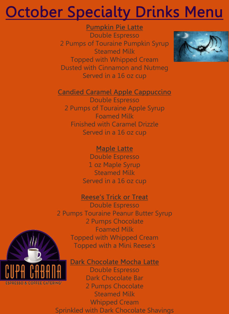 October Specialty Menu and Recipes Halloween Coffee Recipes