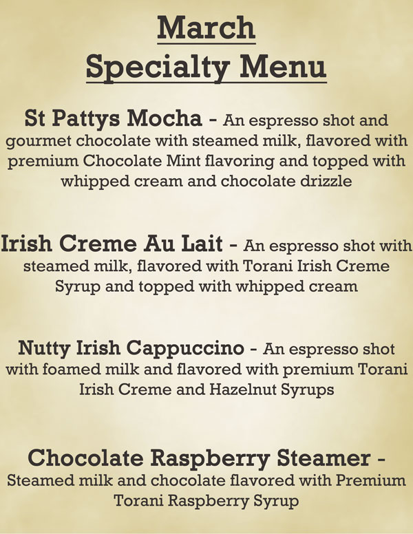 Cupa Cabana's March Specialty Menu is a tribute to Saint Patrick and Spring