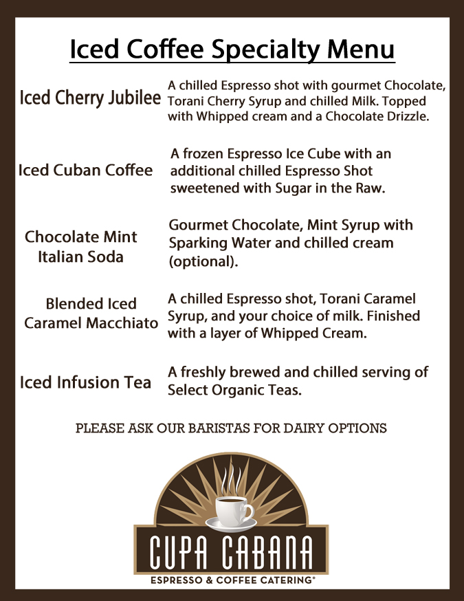 Cupa Cabana's iced Coffee Specialty Menu